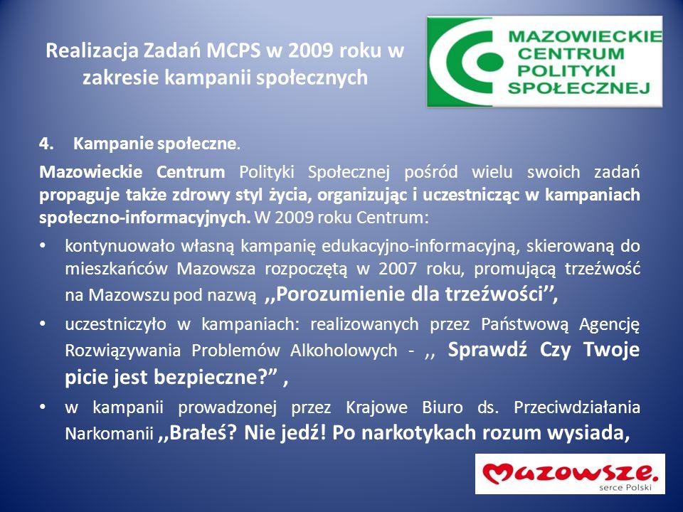 Realizacja Zadań MCPS w 2009 roku w zakresie kampanii społecznych 4.Kampanie społeczne. Mazowieckie Centrum Polityki Społecznej pośród wielu swoich za