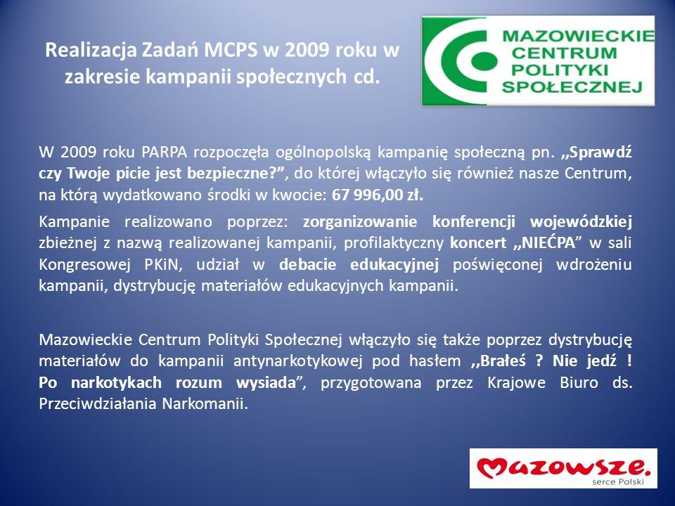 Realizacja Zadań MCPS w 2009 roku w zakresie kampanii społecznych cd. W 2009 roku PARPA rozpoczęła ogólnopolską kampanię społeczną pn.,,Sprawdź czy Tw