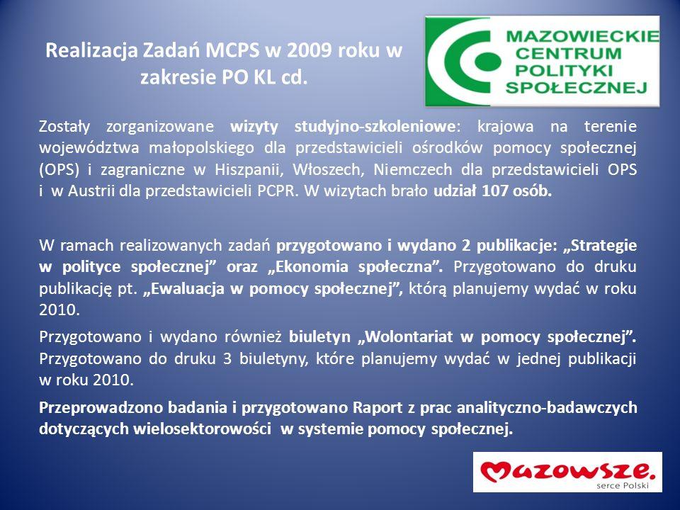 Realizacja Zadań MCPS w 2009 roku w zakresie PO KL cd. Zostały zorganizowane wizyty studyjno-szkoleniowe: krajowa na terenie województwa małopolskiego
