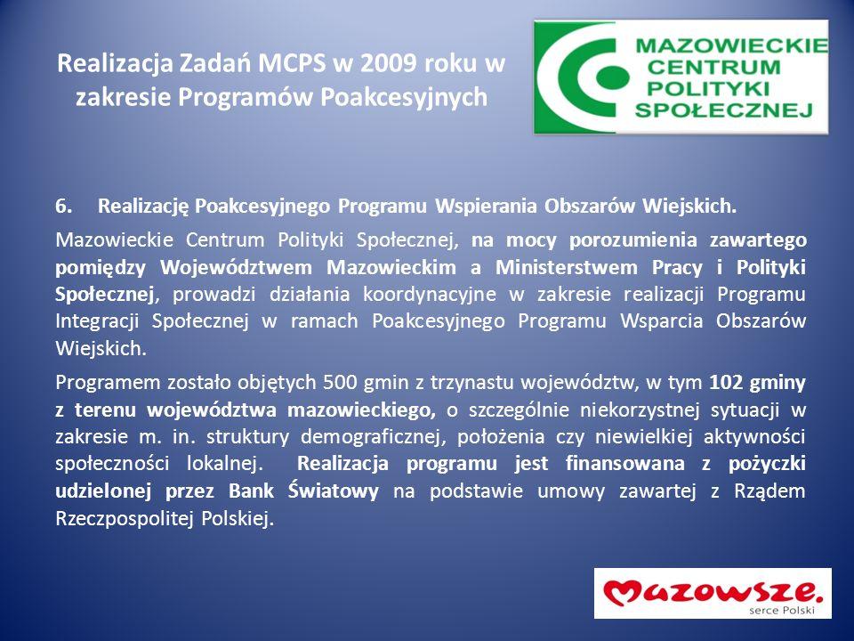 Realizacja Zadań MCPS w 2009 roku w zakresie Programów Poakcesyjnych 6.Realizację Poakcesyjnego Programu Wspierania Obszarów Wiejskich. Mazowieckie Ce