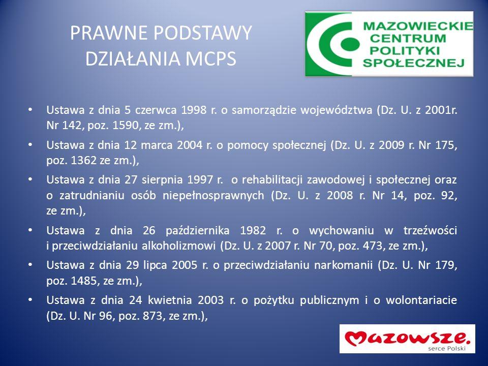 PRAWNE PODSTAWY DZIAŁANIA MCPS Ustawa z dnia 5 czerwca 1998 r. o samorządzie województwa (Dz. U. z 2001r. Nr 142, poz. 1590, ze zm.), Ustawa z dnia 12