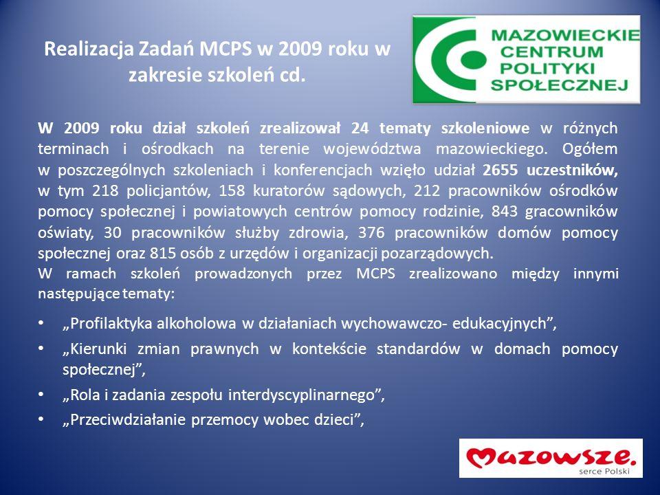 Realizacja Zadań MCPS w 2009 roku w zakresie szkoleń cd. W 2009 roku dział szkoleń zrealizował 24 tematy szkoleniowe w różnych terminach i ośrodkach n