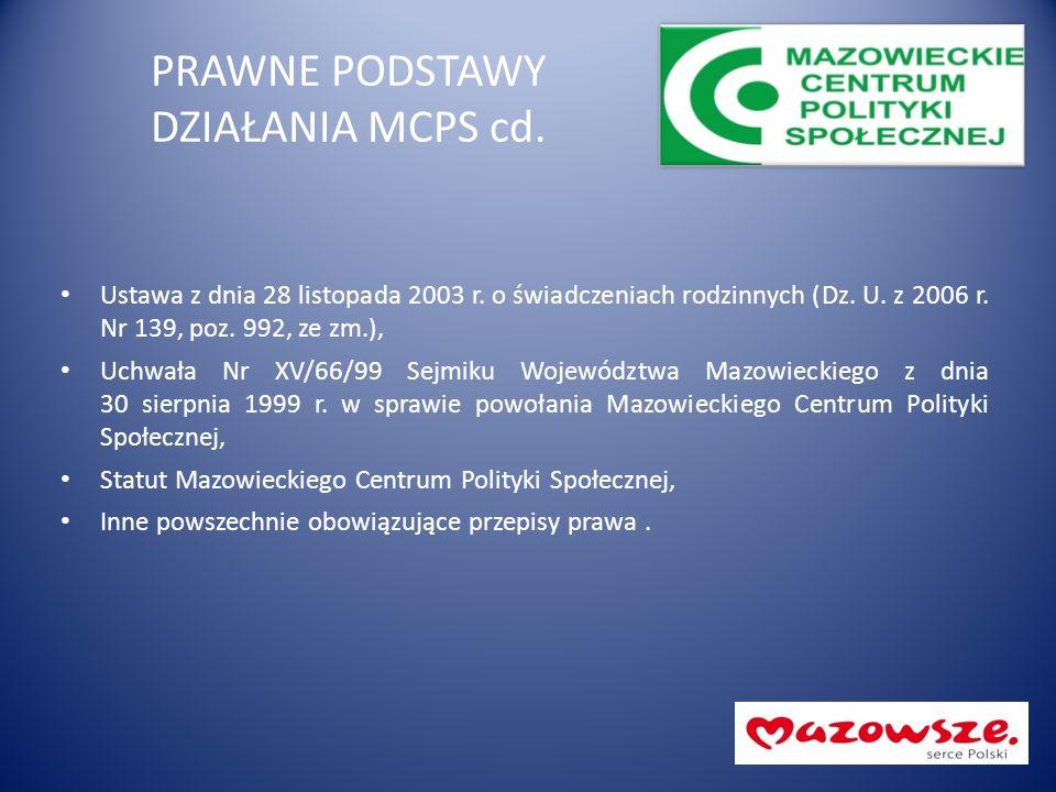 PRAWNE PODSTAWY DZIAŁANIA MCPS cd. Ustawa z dnia 28 listopada 2003 r.