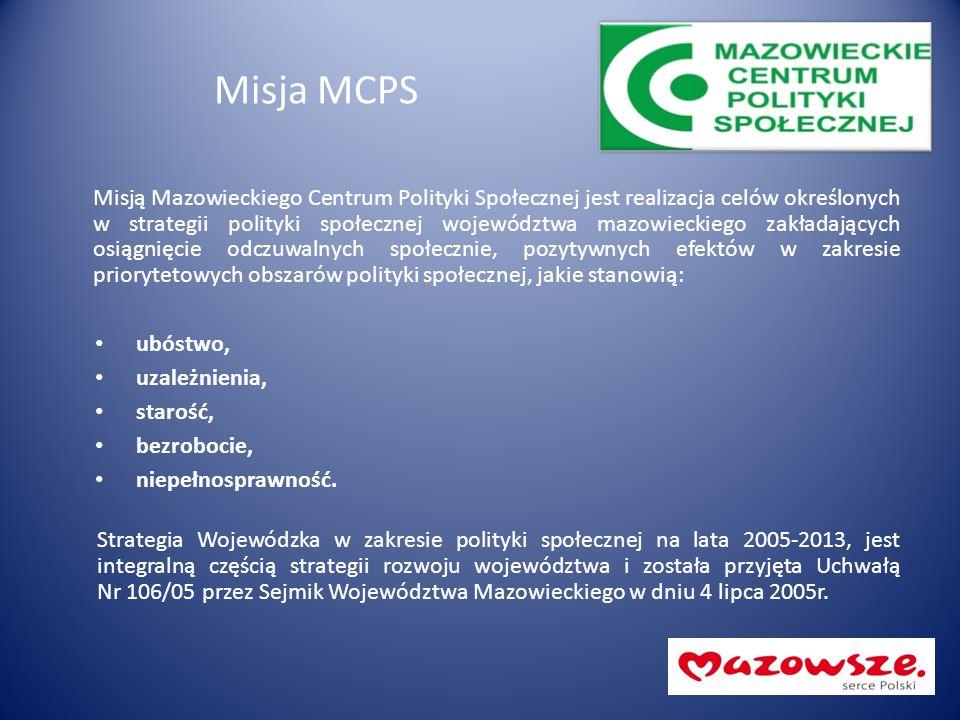 Misja MCPS Misją Mazowieckiego Centrum Polityki Społecznej jest realizacja celów określonych w strategii polityki społecznej województwa mazowieckiego zakładających osiągnięcie odczuwalnych społecznie, pozytywnych efektów w zakresie priorytetowych obszarów polityki społecznej, jakie stanowią: ubóstwo, uzależnienia, starość, bezrobocie, niepełnosprawność.