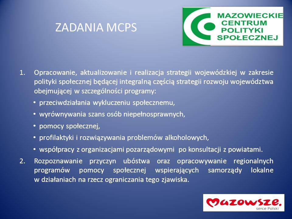 ZADANIA MCPS 1.Opracowanie, aktualizowanie i realizacja strategii wojewódzkiej w zakresie polityki społecznej będącej integralną częścią strategii roz