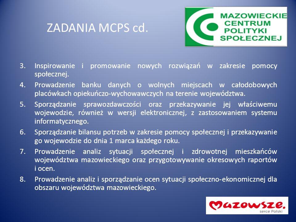 ZADANIA MCPS cd. 3.Inspirowanie i promowanie nowych rozwiązań w zakresie pomocy społecznej. 4.Prowadzenie banku danych o wolnych miejscach w całodobow
