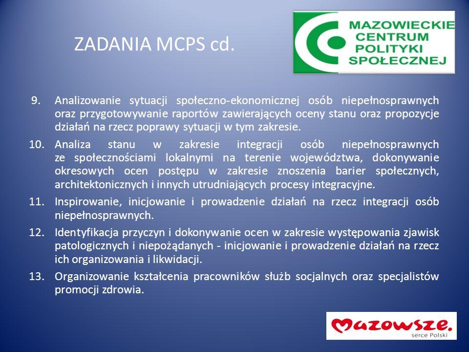 ZADANIA MCPS cd. 9.Analizowanie sytuacji społeczno-ekonomicznej osób niepełnosprawnych oraz przygotowywanie raportów zawierających oceny stanu oraz pr