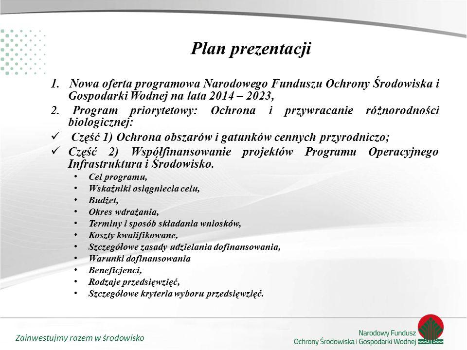 Zainwestujmy razem w środowisko Ochrona i przywracanie różnorodności biologicznej Część 2) Współfinansowanie projektów Programu Operacyjnego Infrastruktura i Środowisko.