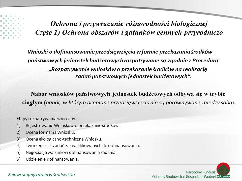 """Zainwestujmy razem w środowisko Ochrona i przywracanie różnorodności biologicznej Część 1) Ochrona obszarów i gatunków cennych przyrodniczo Wnioski o dofinansowanie przedsięwzięcia w formie przekazania środków państwowych jednostek budżetowych rozpatrywane są zgodnie z Procedurą: """"Rozpatrywanie wniosków o przekazanie środków na realizację zadań państwowych jednostek budżetowych ."""