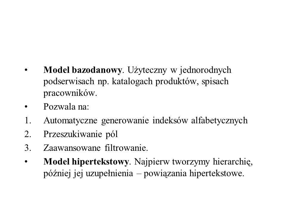 Struktury organizacyjne - rodzaje Model hierarchiczny (taksonomiczny) – podstawa dla dobrej architektury informacji.