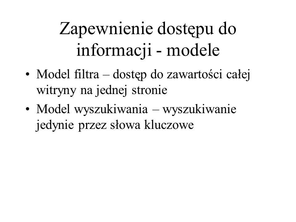 """Zapewnienie dostępu do informacji - modele Model wiązania tylko przez treść – hiperłącza w tekście Model """"płynnych informacji – wszystkie słowa w tekście są interaktywne – hipersłowa."""