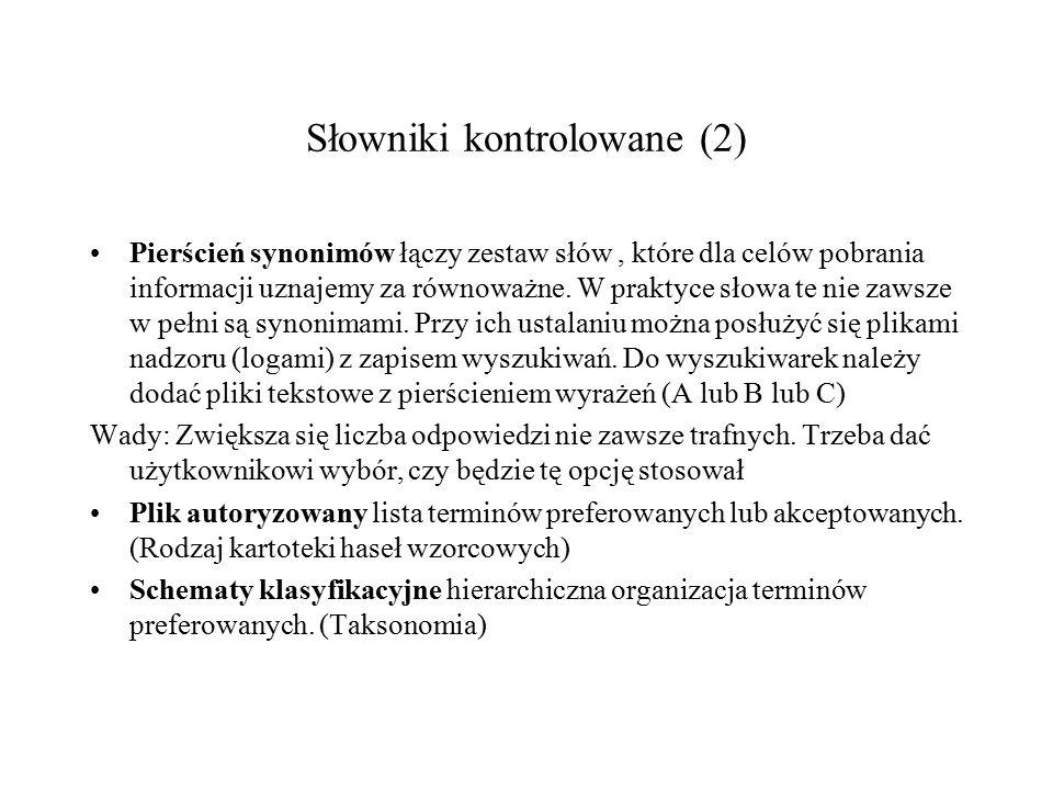 Słowniki kontrolowane (1) Pierścienie Pliki Schematy Tezaurusy synonimów autoryzowane klasyfikacyjne Proste Złożone Równoznaczne Hierarchiczne Skojarzeniowe (relacje)