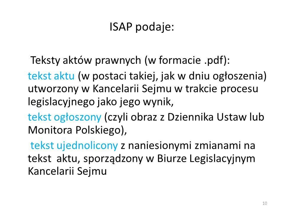 ISAP podaje: Teksty aktów prawnych (w formacie.pdf): tekst aktu (w postaci takiej, jak w dniu ogłoszenia) utworzony w Kancelarii Sejmu w trakcie proce