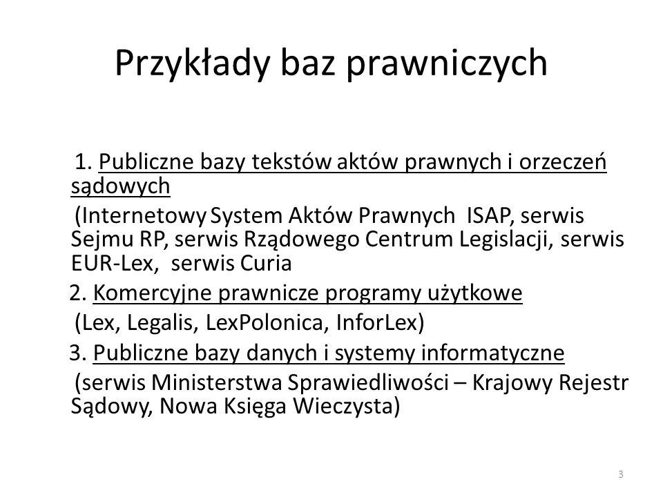 Przykłady baz prawniczych 1. Publiczne bazy tekstów aktów prawnych i orzeczeń sądowych (Internetowy System Aktów Prawnych ISAP, serwis Sejmu RP, serwi