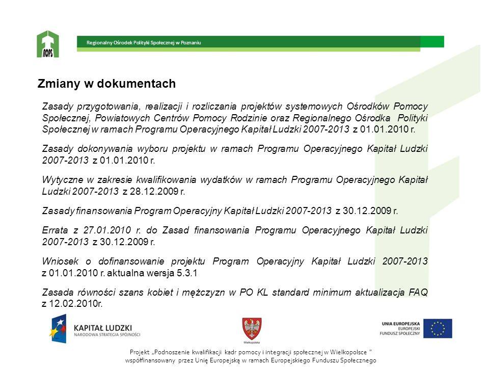 """Projekt """"Podnoszenie kwalifikacji kadr pomocy i integracji społecznej w Wielkopolsce """" współfinansowany przez Unię Europejską w ramach Europejskiego F"""