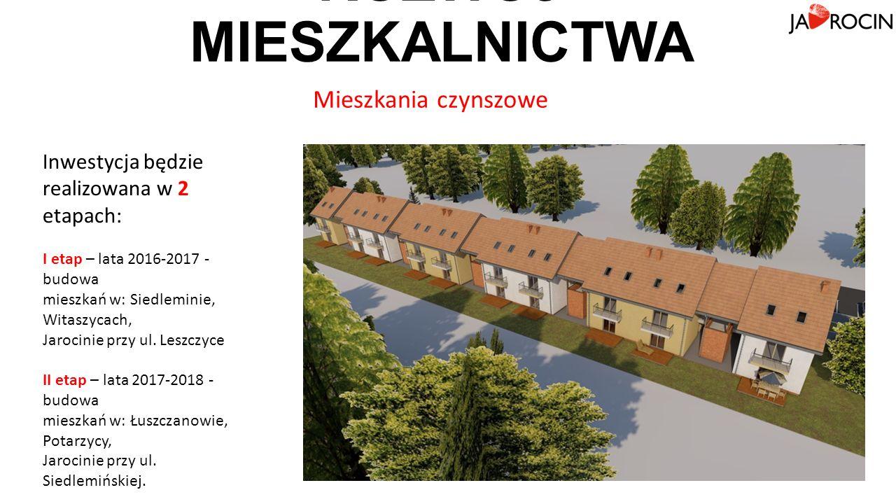 Inwestycja będzie realizowana w 2 etapach: I etap – lata 2016-2017 - budowa mieszkań w: Siedleminie, Witaszycach, Jarocinie przy ul.