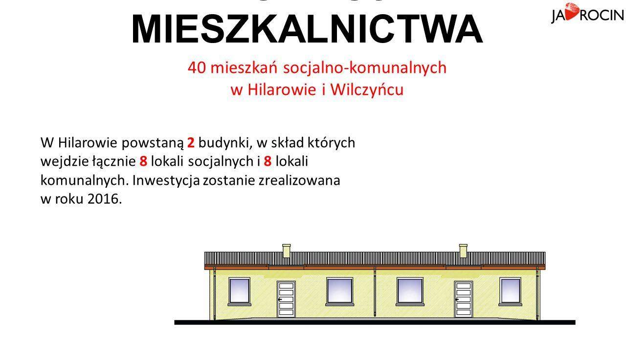 ROZWÓJ MIESZKALNICTWA 40 mieszkań socjalno-komunalnych w Hilarowie i Wilczyńcu W Hilarowie powstaną 2 budynki, w skład których wejdzie łącznie 8 lokali socjalnych i 8 lokali komunalnych.