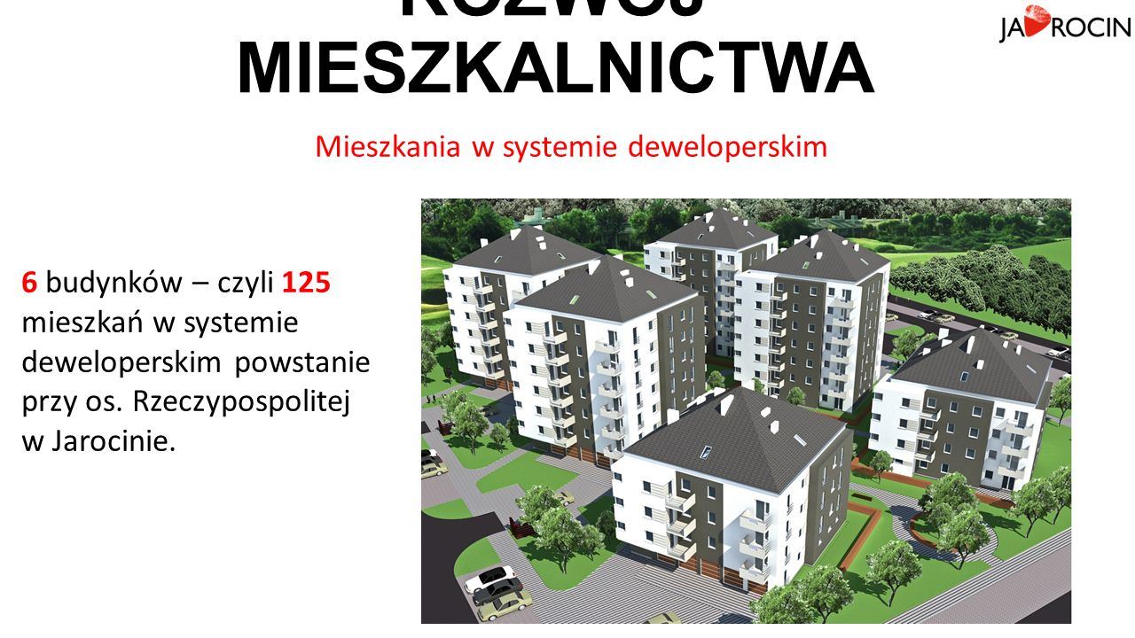 ROZWÓJ MIESZKALNICTWA 6 budynków – czyli 125 mieszkań w systemie deweloperskim powstanie przy os.