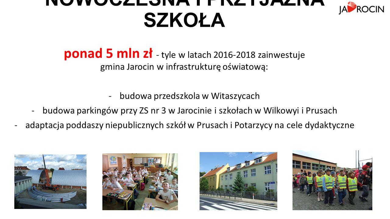 NOWOCZESNA I PRZYJAZNA SZKOŁA ponad 5 mln zł - tyle w latach 2016-2018 zainwestuje gmina Jarocin w infrastrukturę oświatową: -budowa przedszkola w Witaszycach -budowa parkingów przy ZS nr 3 w Jarocinie i szkołach w Wilkowyi i Prusach -adaptacja poddaszy niepublicznych szkół w Prusach i Potarzycy na cele dydaktyczne