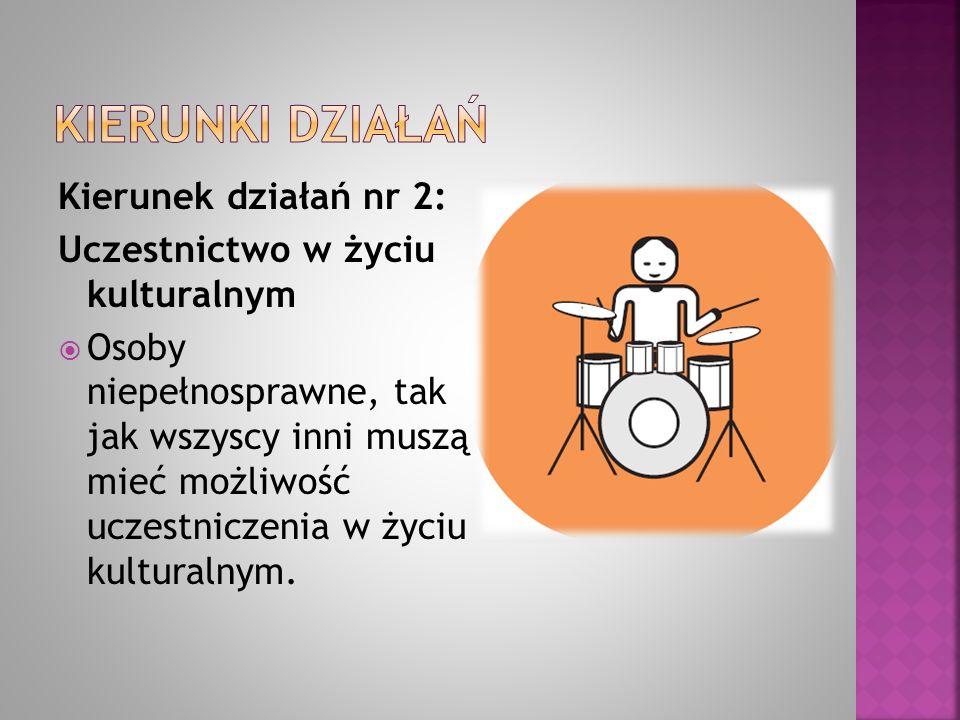Kierunek działań nr 2: Uczestnictwo w życiu kulturalnym  Osoby niepełnosprawne, tak jak wszyscy inni muszą mieć możliwość uczestniczenia w życiu kult