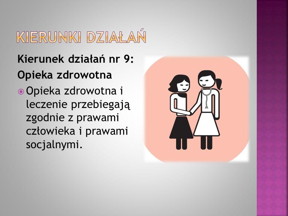 Kierunek działań nr 9: Opieka zdrowotna  Opieka zdrowotna i leczenie przebiegają zgodnie z prawami człowieka i prawami socjalnymi.