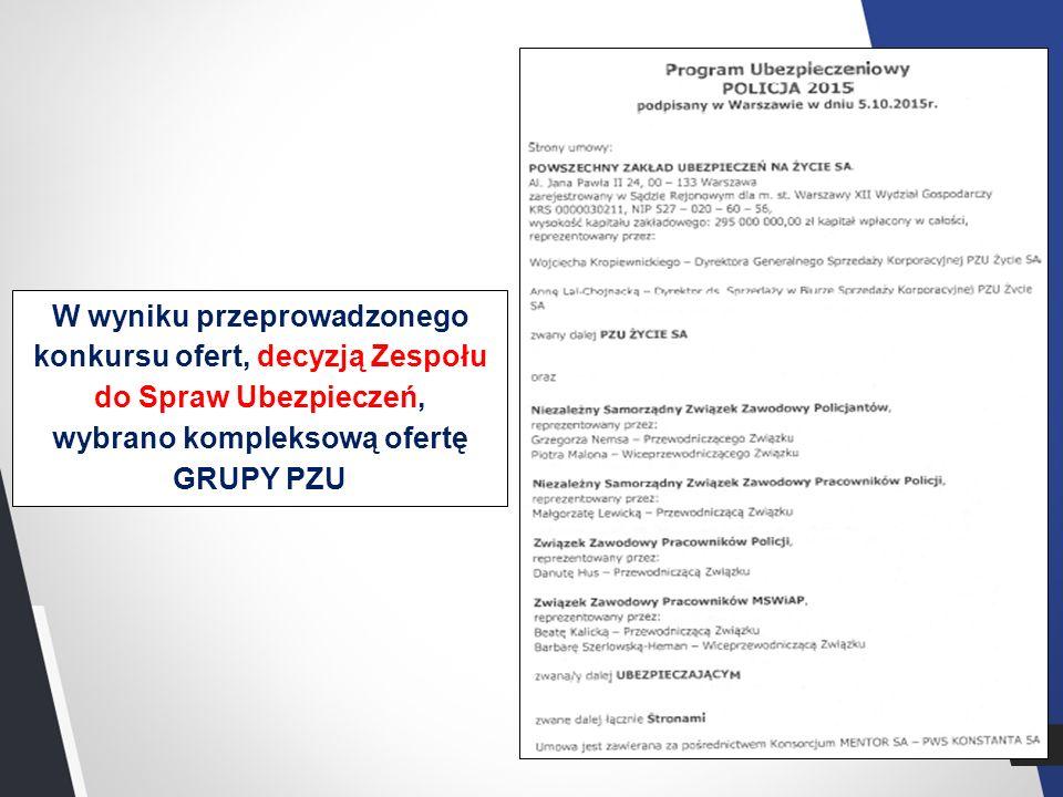 2 W wyniku przeprowadzonego konkursu ofert, decyzją Zespołu do Spraw Ubezpieczeń, wybrano kompleksową ofertę GRUPY PZU