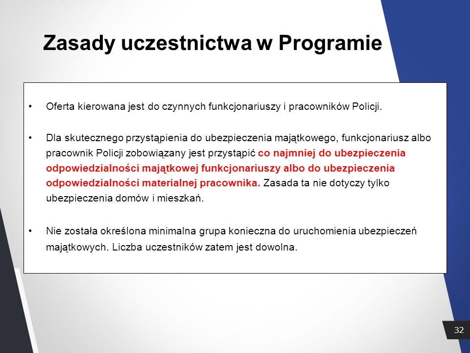 32 Zasady uczestnictwa w Programie Oferta kierowana jest do czynnych funkcjonariuszy i pracowników Policji.