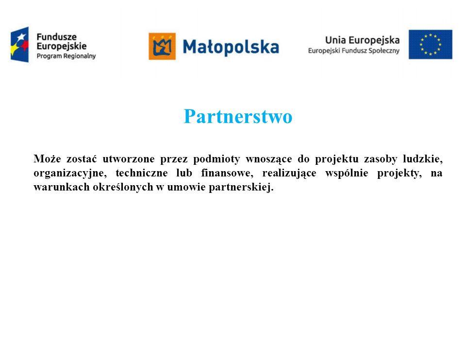 Partnerstwo Może zostać utworzone przez podmioty wnoszące do projektu zasoby ludzkie, organizacyjne, techniczne lub finansowe, realizujące wspólnie projekty, na warunkach określonych w umowie partnerskiej.