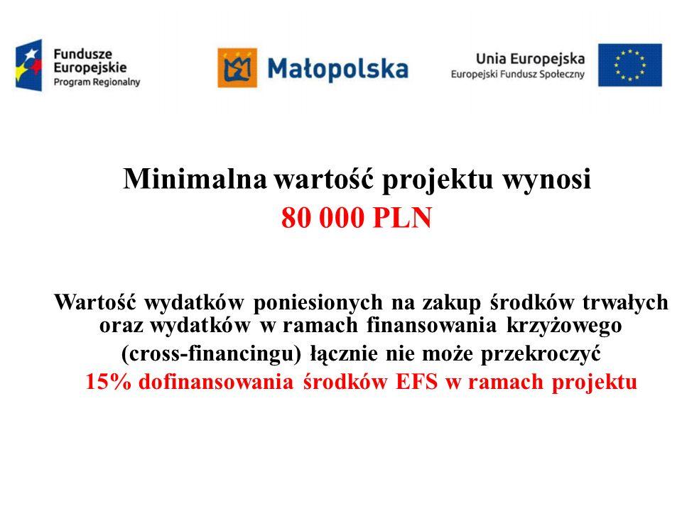 Minimalna wartość projektu wynosi 80 000 PLN Wartość wydatków poniesionych na zakup środków trwałych oraz wydatków w ramach finansowania krzyżowego (cross-financingu) łącznie nie może przekroczyć 15% dofinansowania środków EFS w ramach projektu