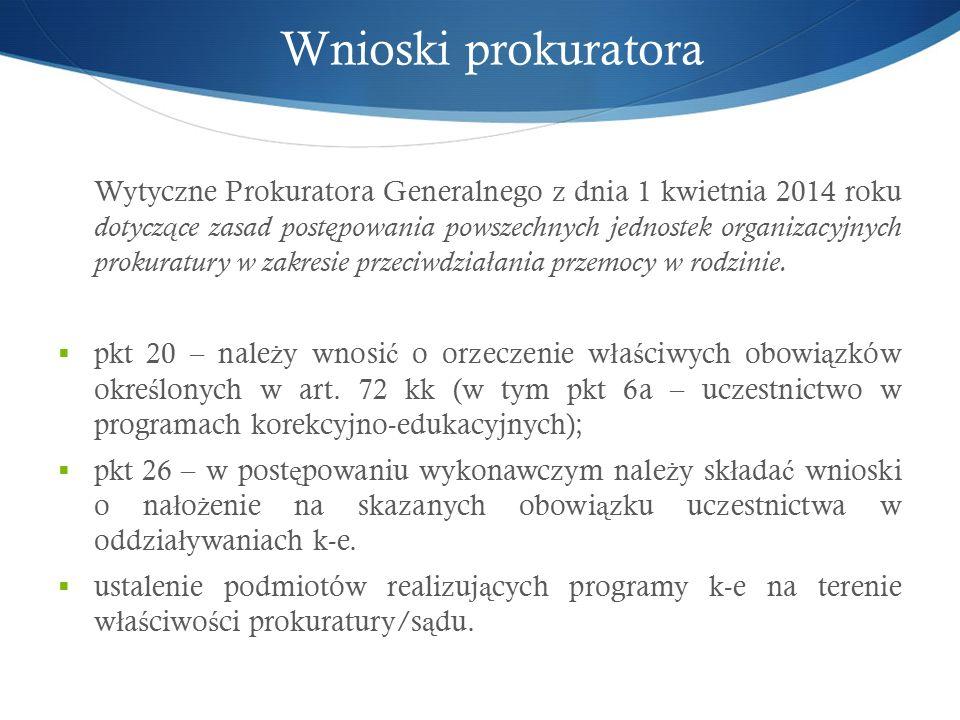Wnioski prokuratora Wytyczne Prokuratora Generalnego z dnia 1 kwietnia 2014 roku dotycz ą ce zasad post ę powania powszechnych jednostek organizacyjnych prokuratury w zakresie przeciwdzia ł ania przemocy w rodzinie.