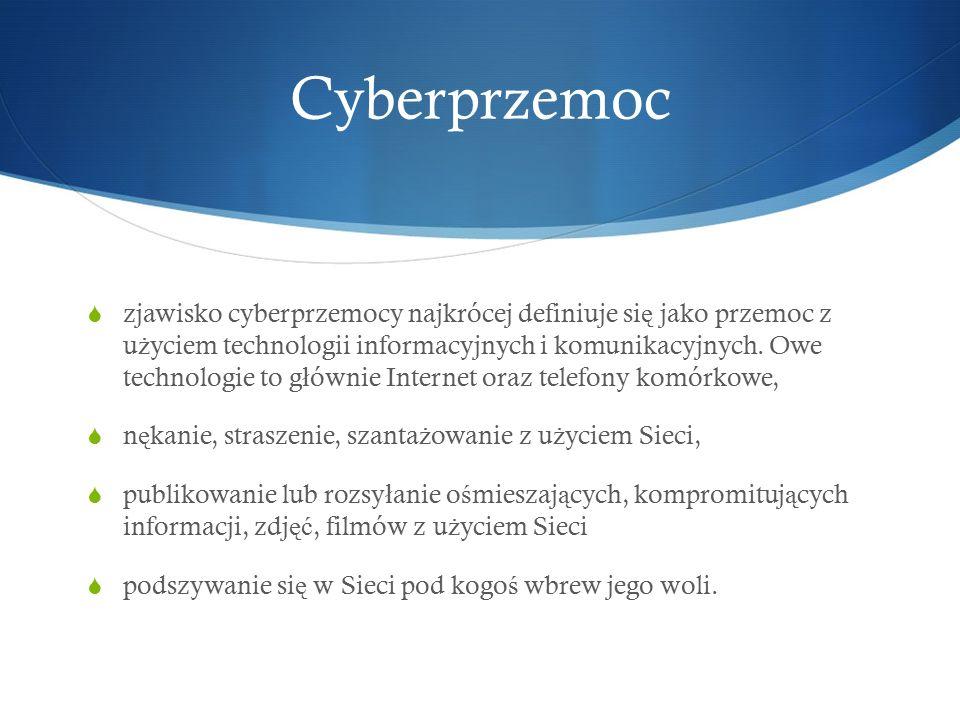 Cyberprzemoc  zjawisko cyberprzemocy najkrócej definiuje si ę jako przemoc z u ż yciem technologii informacyjnych i komunikacyjnych.