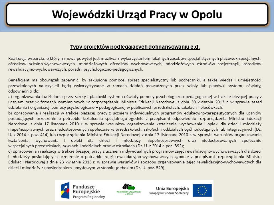 Wojewódzki Urząd Pracy w Opolu Typy projektów podlegających dofinansowaniu c.d.