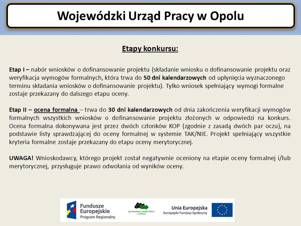 Wojewódzki Urząd Pracy w Opolu Etapy konkursu c.d.
