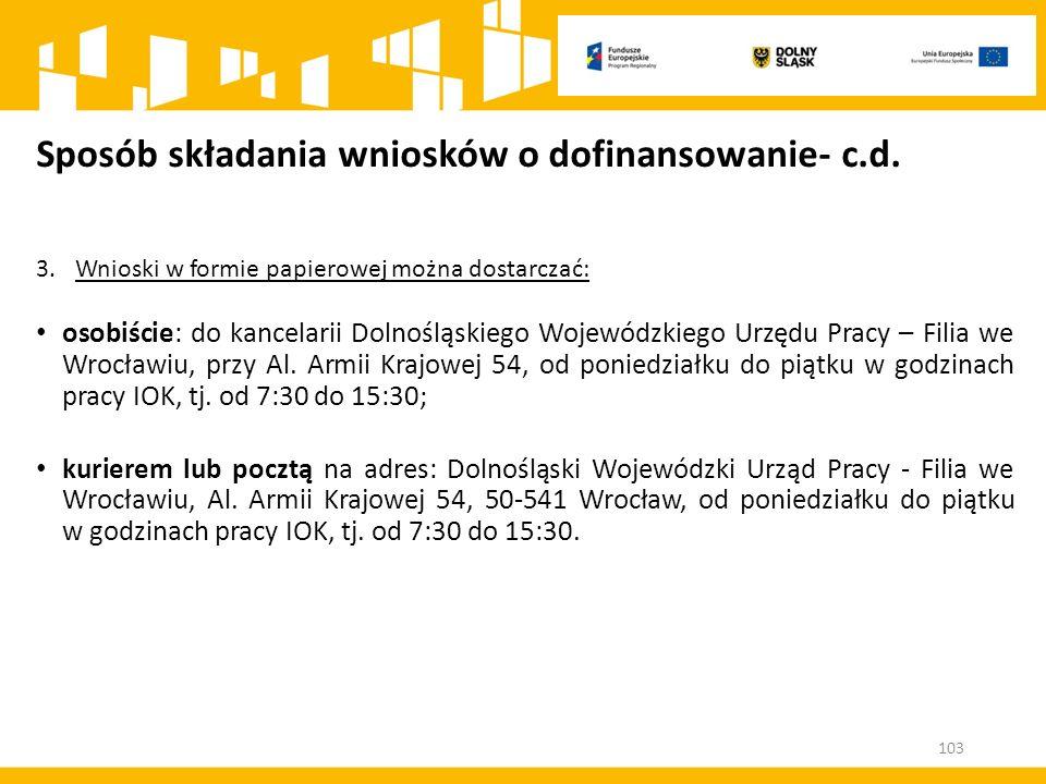 Sposób składania wniosków o dofinansowanie- c.d. 3.Wnioski w formie papierowej można dostarczać: osobiście: do kancelarii Dolnośląskiego Wojewódzkiego