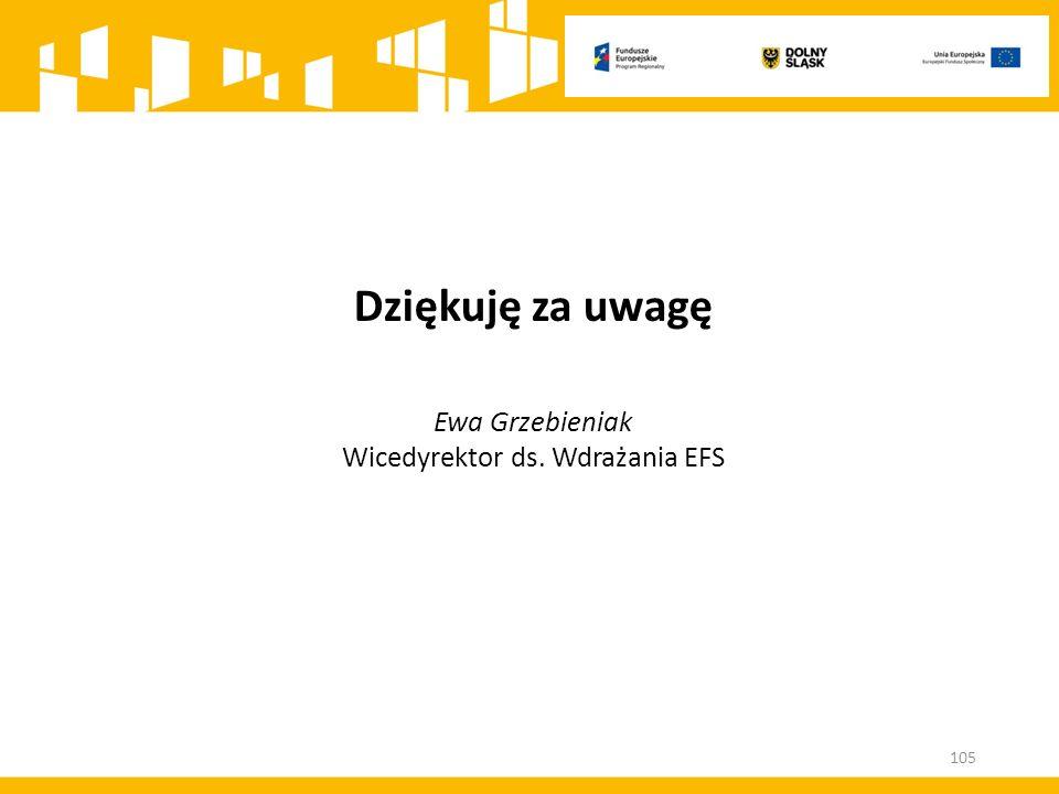 Dziękuję za uwagę Ewa Grzebieniak Wicedyrektor ds. Wdrażania EFS 105