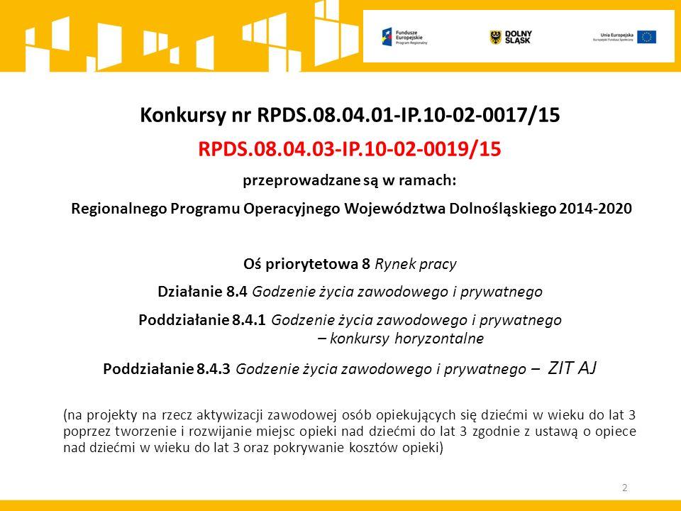 Konkursy nr RPDS.08.04.01-IP.10-02-0017/15 RPDS.08.04.03-IP.10-02-0019/15 przeprowadzane są w ramach: Regionalnego Programu Operacyjnego Województwa D