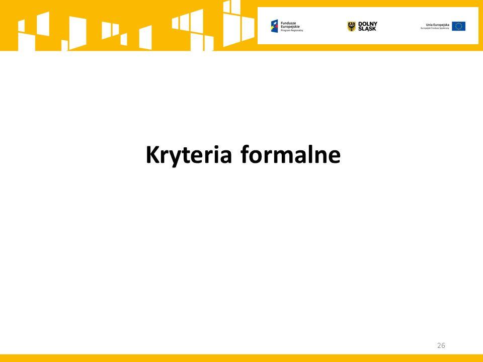 Kryteria formalne 26