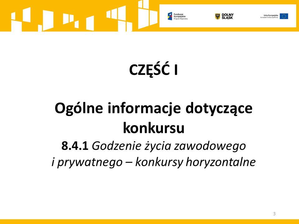 CZĘŚĆ I Ogólne informacje dotyczące konkursu 8.4.1 Godzenie życia zawodowego i prywatnego – konkursy horyzontalne 3