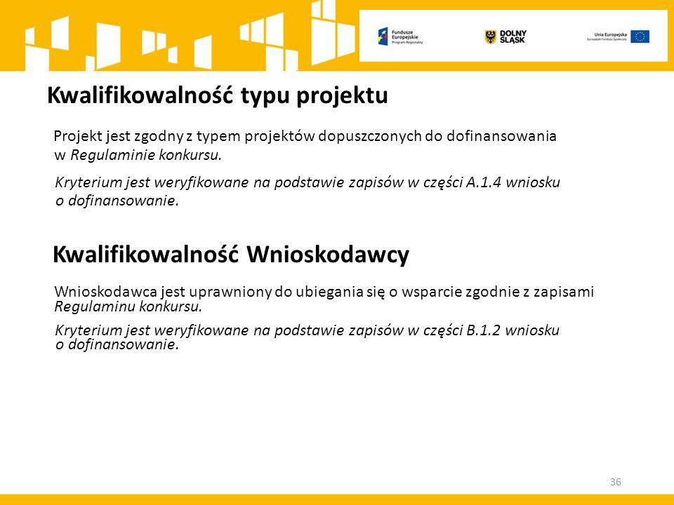 Kwalifikowalność typu projektu Projekt jest zgodny z typem projektów dopuszczonych do dofinansowania w Regulaminie konkursu. Kryterium jest weryfikowa