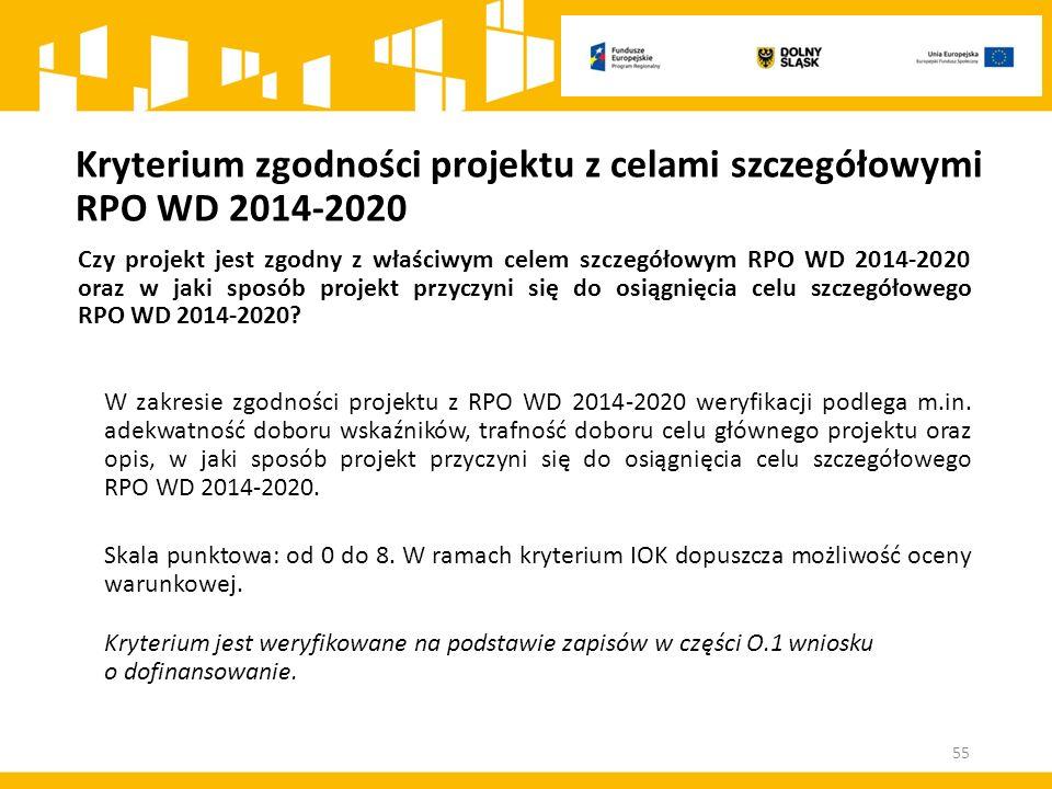 Kryterium zgodności projektu z celami szczegółowymi RPO WD 2014-2020 Czy projekt jest zgodny z właściwym celem szczegółowym RPO WD 2014-2020 oraz w ja