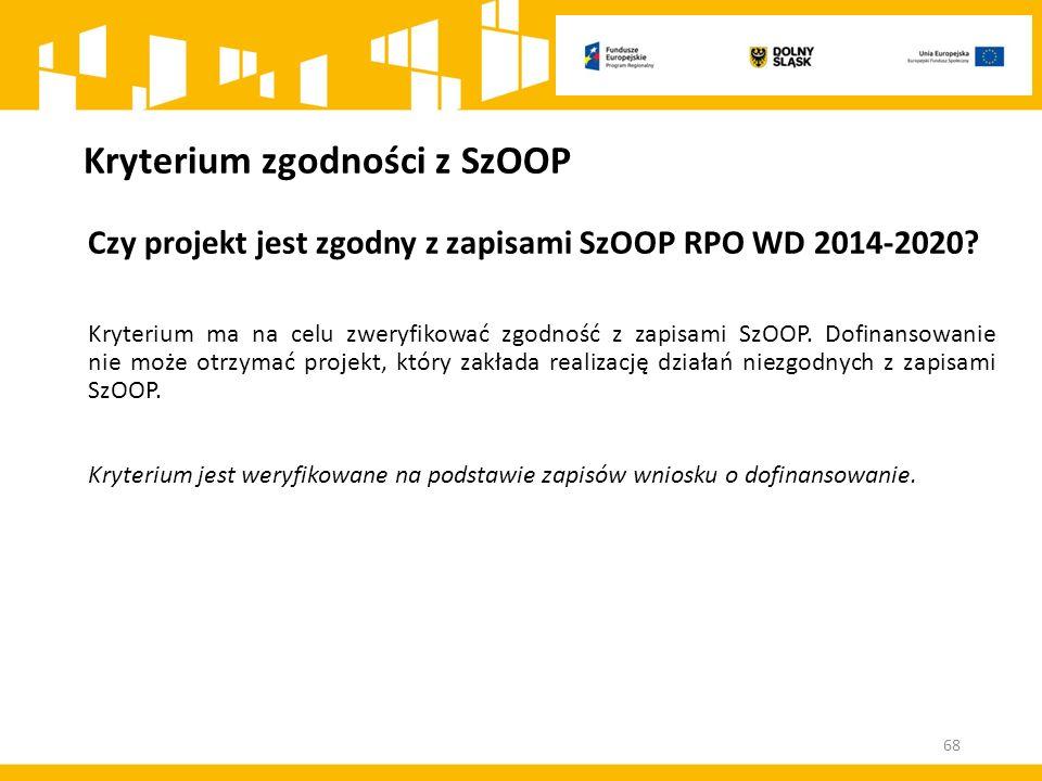 Kryterium zgodności z SzOOP Czy projekt jest zgodny z zapisami SzOOP RPO WD 2014-2020? Kryterium ma na celu zweryfikować zgodność z zapisami SzOOP. Do