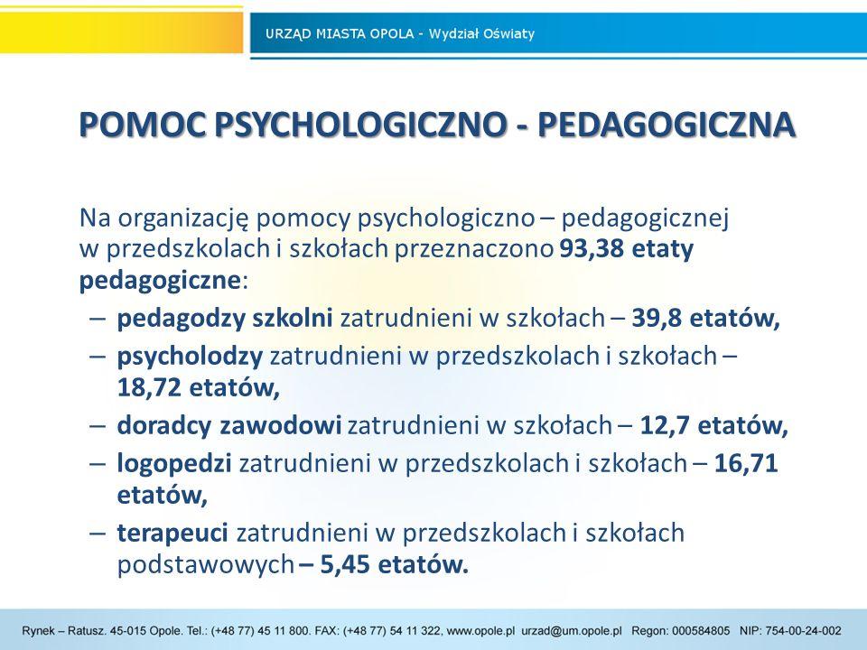 POMOC PSYCHOLOGICZNO - PEDAGOGICZNA POMOC PSYCHOLOGICZNO - PEDAGOGICZNA Na organizację pomocy psychologiczno – pedagogicznej w przedszkolach i szkołach przeznaczono 93,38 etaty pedagogiczne: – pedagodzy szkolni zatrudnieni w szkołach – 39,8 etatów, – psycholodzy zatrudnieni w przedszkolach i szkołach – 18,72 etatów, – doradcy zawodowi zatrudnieni w szkołach – 12,7 etatów, – logopedzi zatrudnieni w przedszkolach i szkołach – 16,71 etatów, – terapeuci zatrudnieni w przedszkolach i szkołach podstawowych – 5,45 etatów.