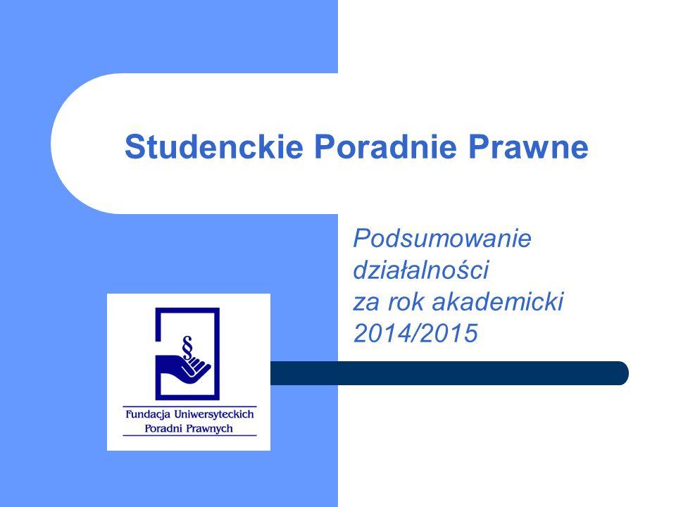 Uniwersytecka Poradnia Prawna we Wrocławiu Spraw łącznie: 839 Studentów: 91 Opiekunów: 75 Najważniejsze osiągnięcia i sukcesy poradni: Prowadzenie projektu STREET LAW w Liceach.