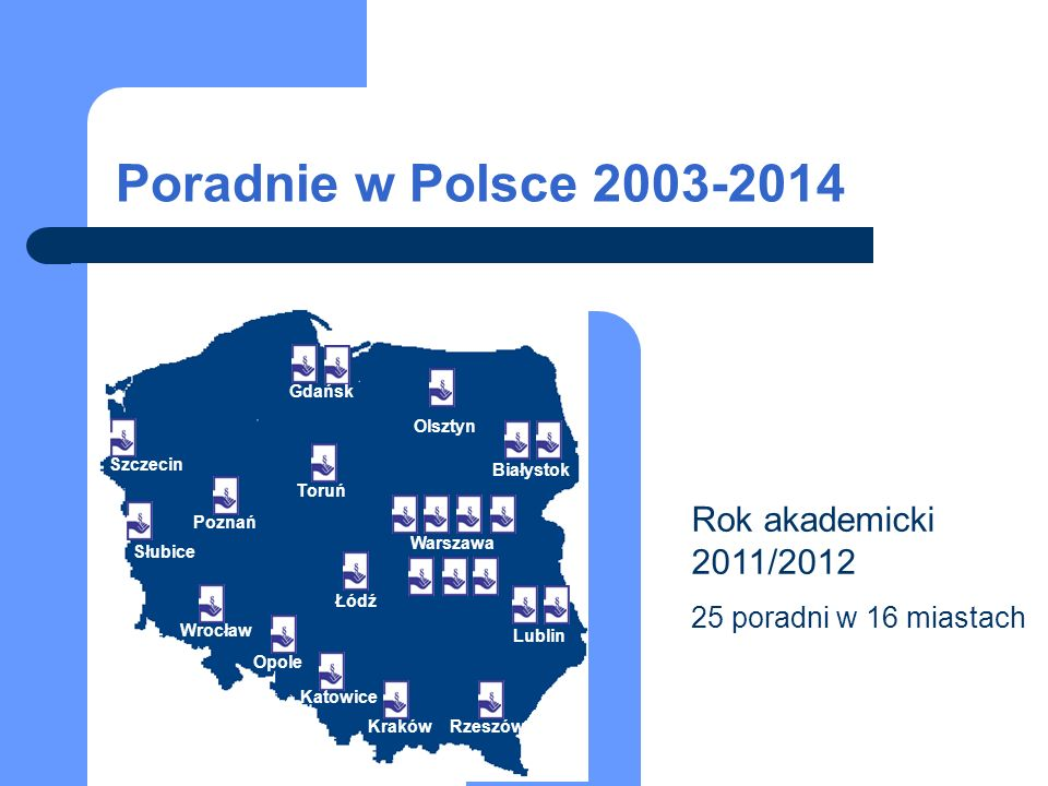 Rok akademicki 2011/2012 25 poradni w 16 miastach Białystok Warszawa Lublin RzeszówKraków Katowice Opole Wrocław Łódź Poznań Toruń Gdańsk Szczecin Słubice Olsztyn Poradnie w Polsce 2003-2014