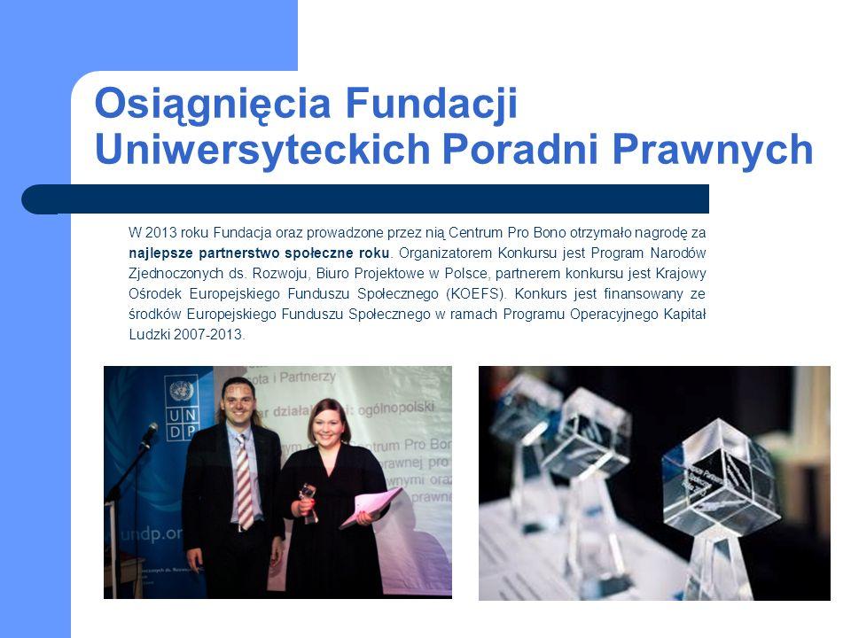 Osiągnięcia Fundacji Uniwersyteckich Poradni Prawnych W 2013 roku Fundacja oraz prowadzone przez nią Centrum Pro Bono otrzymało nagrodę za najlepsze partnerstwo społeczne roku.