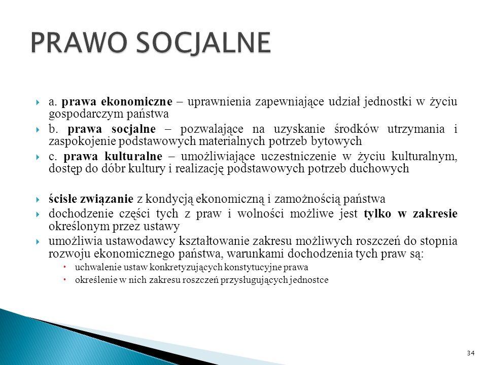  a. prawa ekonomiczne – uprawnienia zapewniające udział jednostki w życiu gospodarczym państwa  b. prawa socjalne – pozwalające na uzyskanie środków