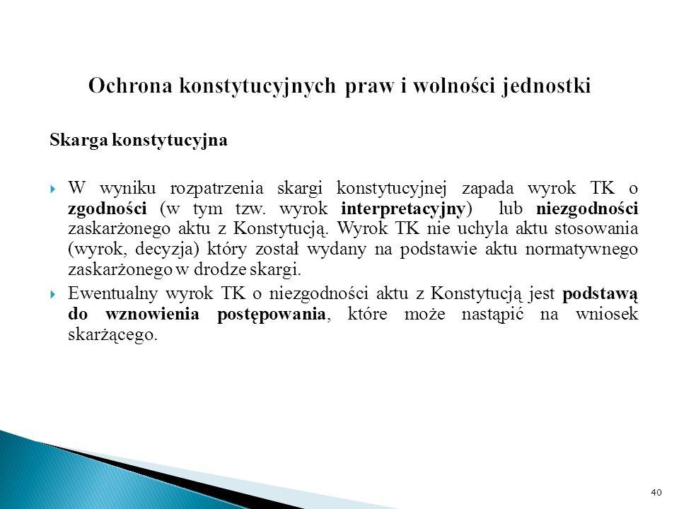Skarga konstytucyjna  W wyniku rozpatrzenia skargi konstytucyjnej zapada wyrok TK o zgodności (w tym tzw.
