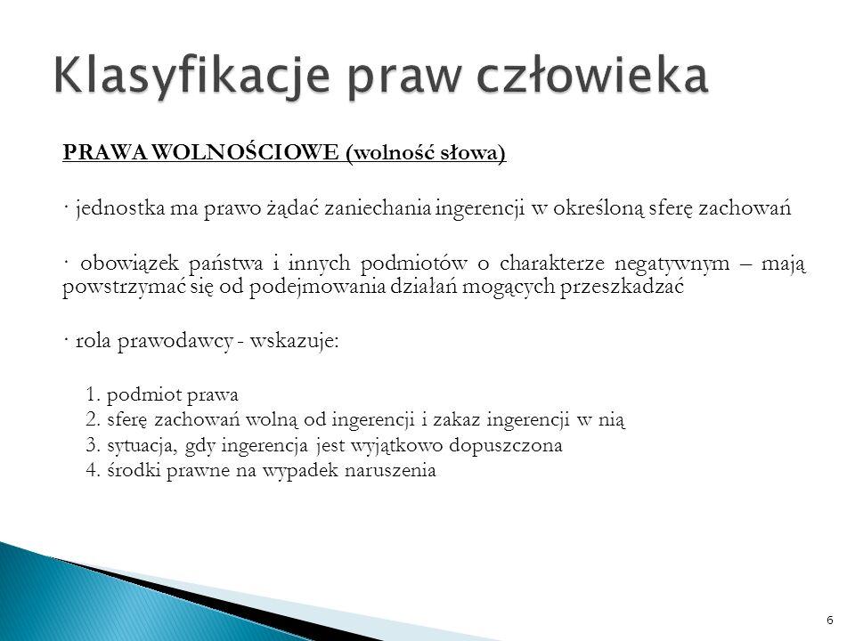 PRAWA SENSU STRICTO (prawa socjalne) · jednostka ma prawo żądania podjęcia działania (świadczenia) · pozytywny charakter obowiązku – polega na podjęciu działania, a podmiotem zobowiązanym jest prawodawca · rola prawodawcy – wskazuje : a.