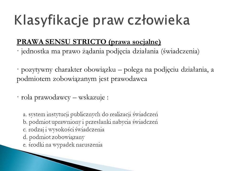 PRAWA-KOMPETENCJE czynne prawo wyborcze, do udziału w referendum, do sądu, inicjatywa ludowa · przekazanie jednostce kompetencji do dokonania czynności prawnej · organ jest zobowiązany zareagować na taką czynność · zakładają aktywność jednostki (a nie pasywność jak przy sensu stricto) · rola prawodawcy – wskazuje : a.
