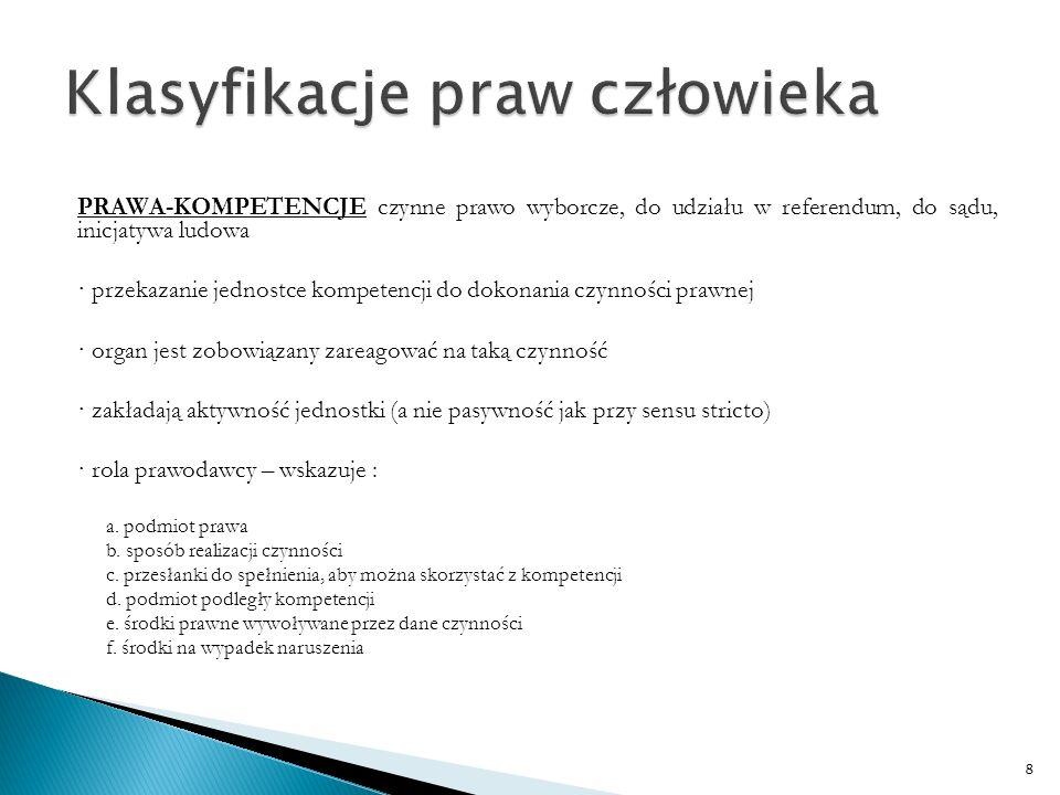 PRAWA MATERIALNE I PROCEDURALNE 1) proceduralne – umożliwiają uruchomienie procedur do wyegzekwowania prawa i wyznaczają minimalne standardy sprawiedliwości proceduralnej (np.
